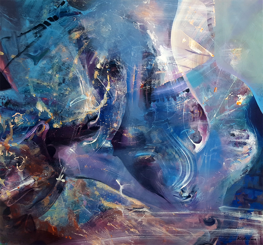 HUGE DREAMLIKE MINDSCAPE ONIRIC FANTASTIC ABSTRACT BLUE PAINTING KLOSKA ALICE MORNING DREAMS