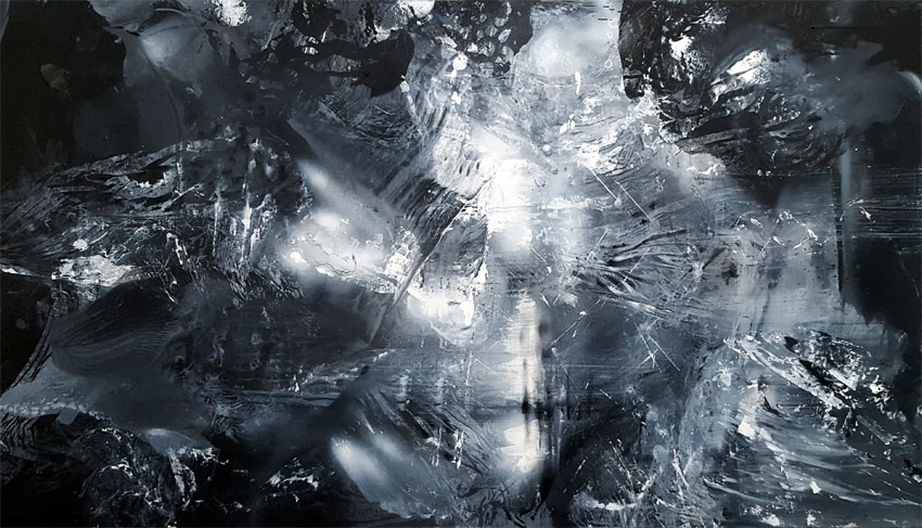 THE DARK BEAUTY UNIVERSE EXPANDING MINDSCAPE DARKSCAPE LIGHTSCAPE ABSTRACT HUGE ONEIRIC PAINTING BY KLOSKA