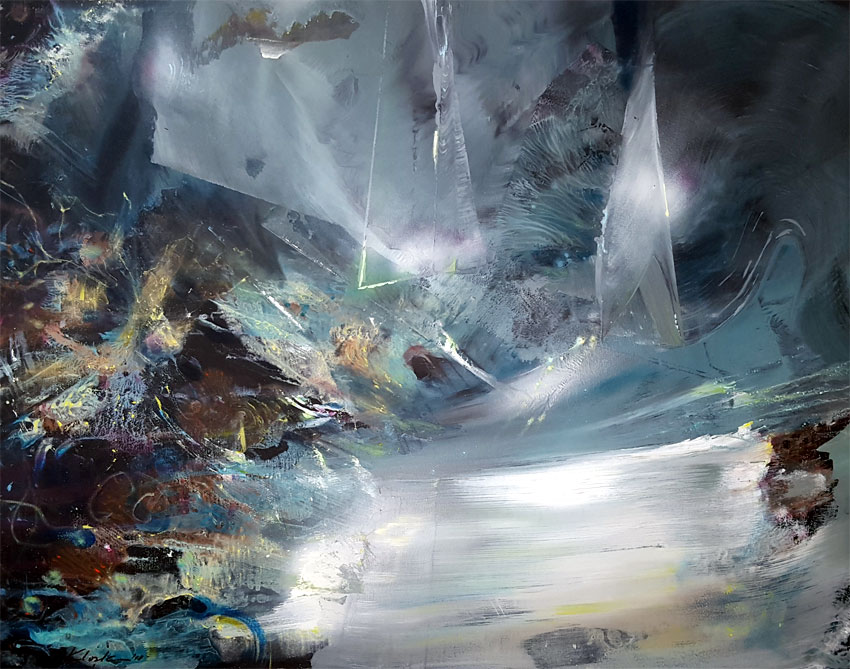 BLUE GREY AND INCANDESCENT COLORS MINDSCAPE THE LAST DREAM OF A SILK WORM 1 BY MASTER O KLOSKA