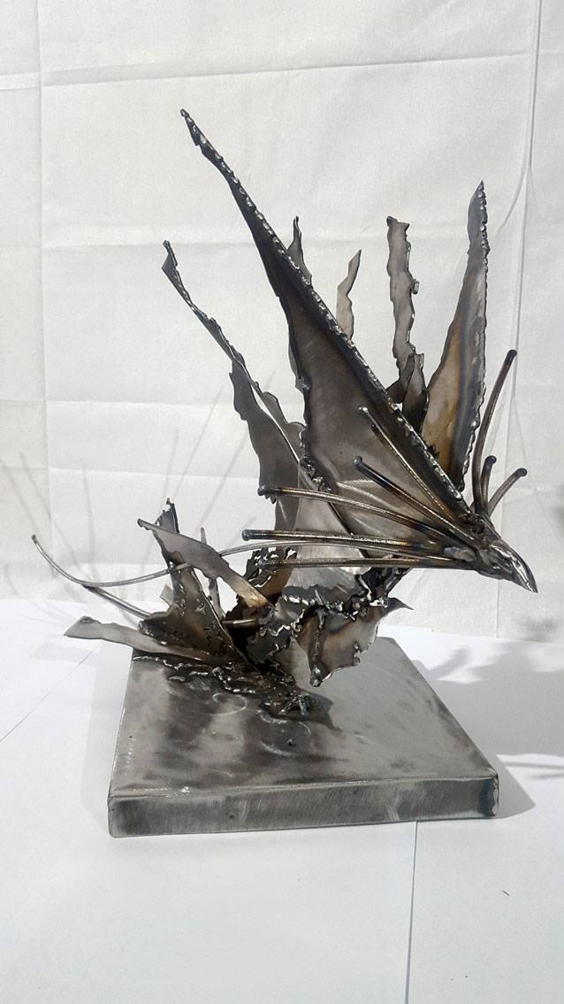 BRUTALIST WELDED IRON SCULPTURE STAR BIRD FUELING THE SPACE AROUND HER KLOSKA O ROMANIAN ARTIST