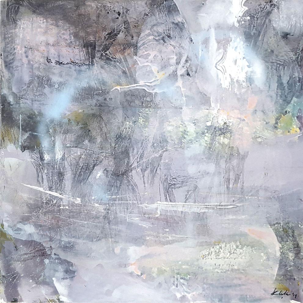 Large framed diaphane painting mindscape lightscape light memory by O KLOSKA