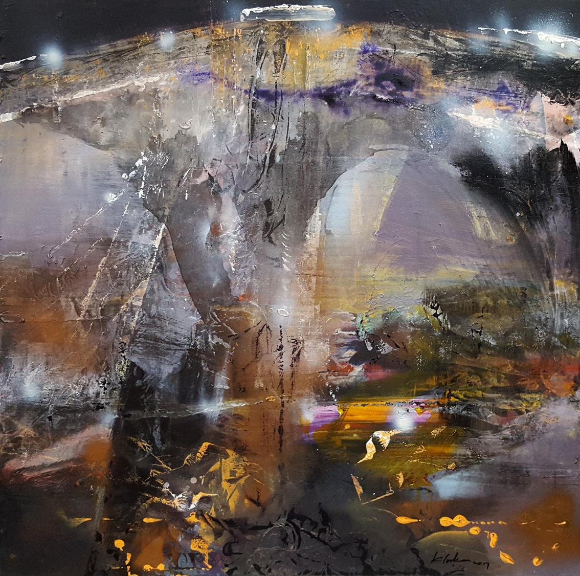 Large framed acrylic painting abstract mindscape lightscape melancholia nostalgia composition by O KLOSKA