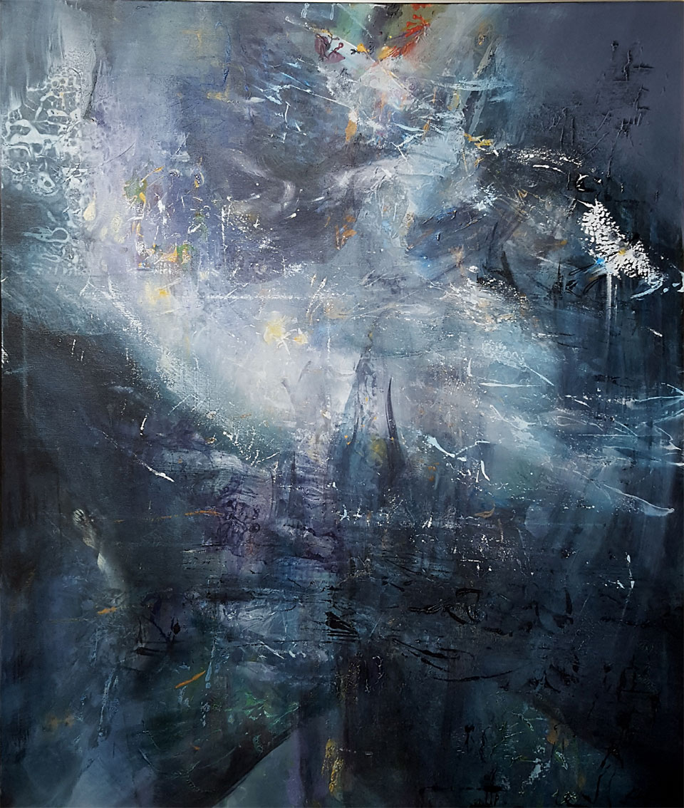 SLOW MOVEMENT IN A SACRED CREATION LARGE 120 X 100 CM ABSTRACT MINDSCAPE BY O KLOSKA