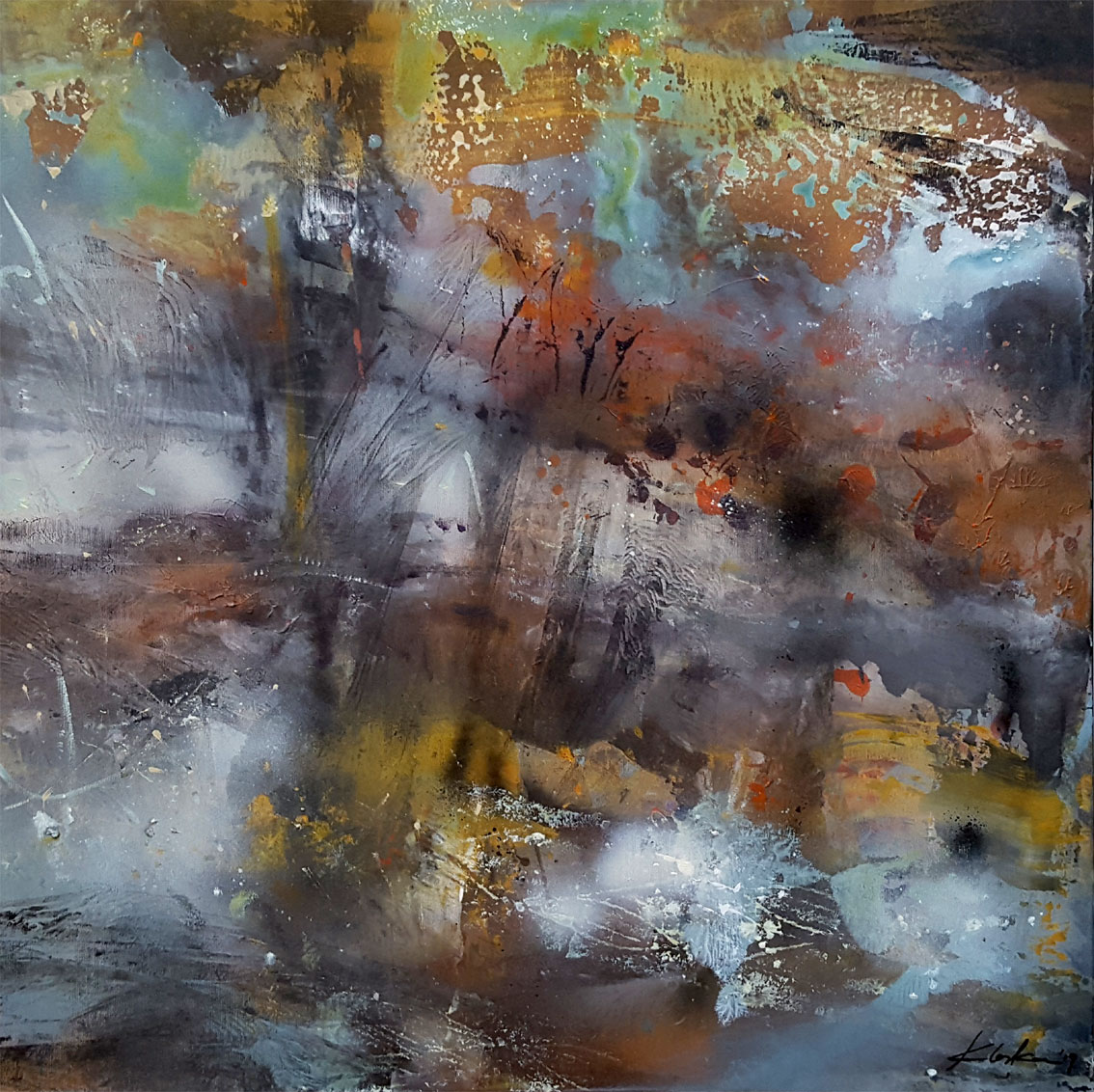 Large framed diaphane painting mindscape lightscape sonata for a deep silence by O KLOSKA