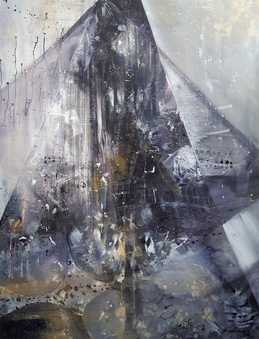 the Pyramids of memory 1 large painting mindscape lightscape by O KLOSKA