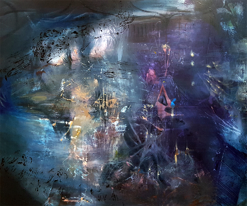 The childhood of chaos 6 large painting mindscape lightscape by O KLOSKA