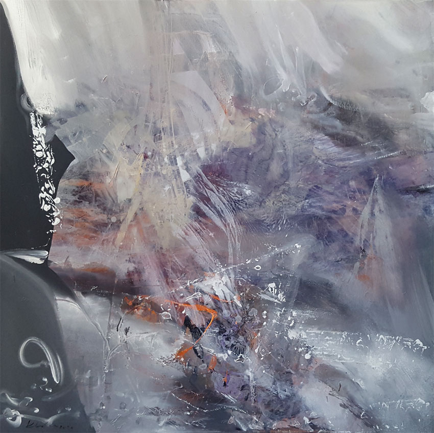 Enigma of creation greyscape divine silence painting by O KLOSKA / 1200 Eur