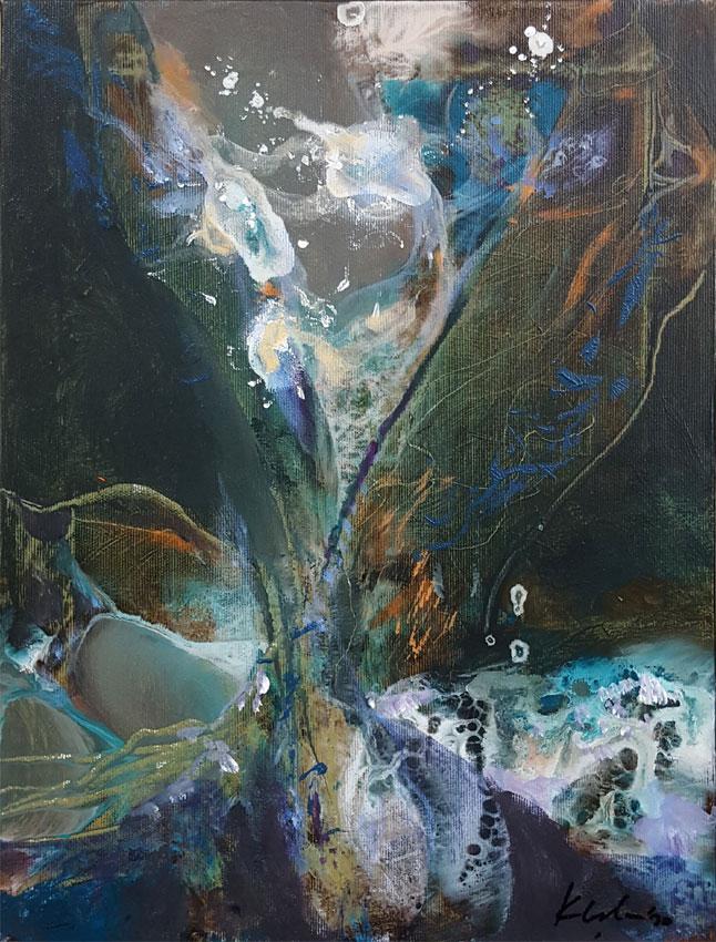 Dark green and orange semi abstract still life by O KLOSKA / 150 Eur