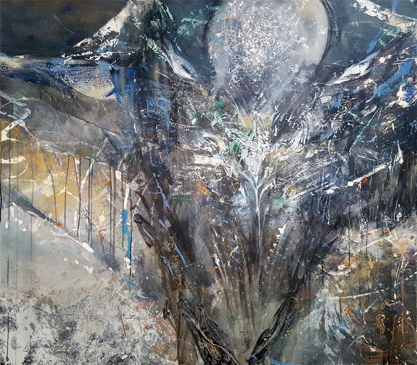 Huge blue spontane painting enigmatic angel by KLOSKA / 2000 Eur