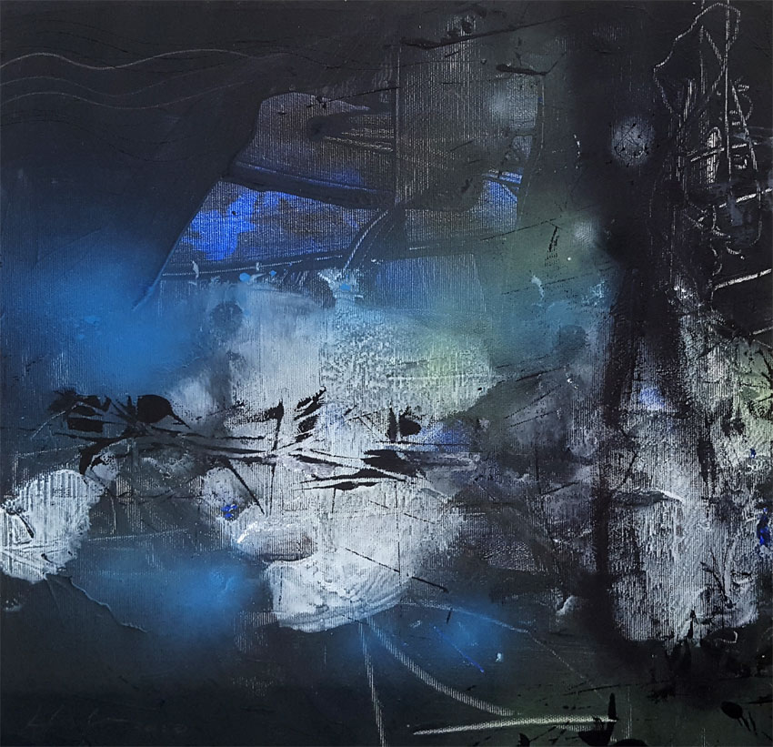 Unique abstract fascinating darkscape by  master painter  O KLOSKA / 150 Eur