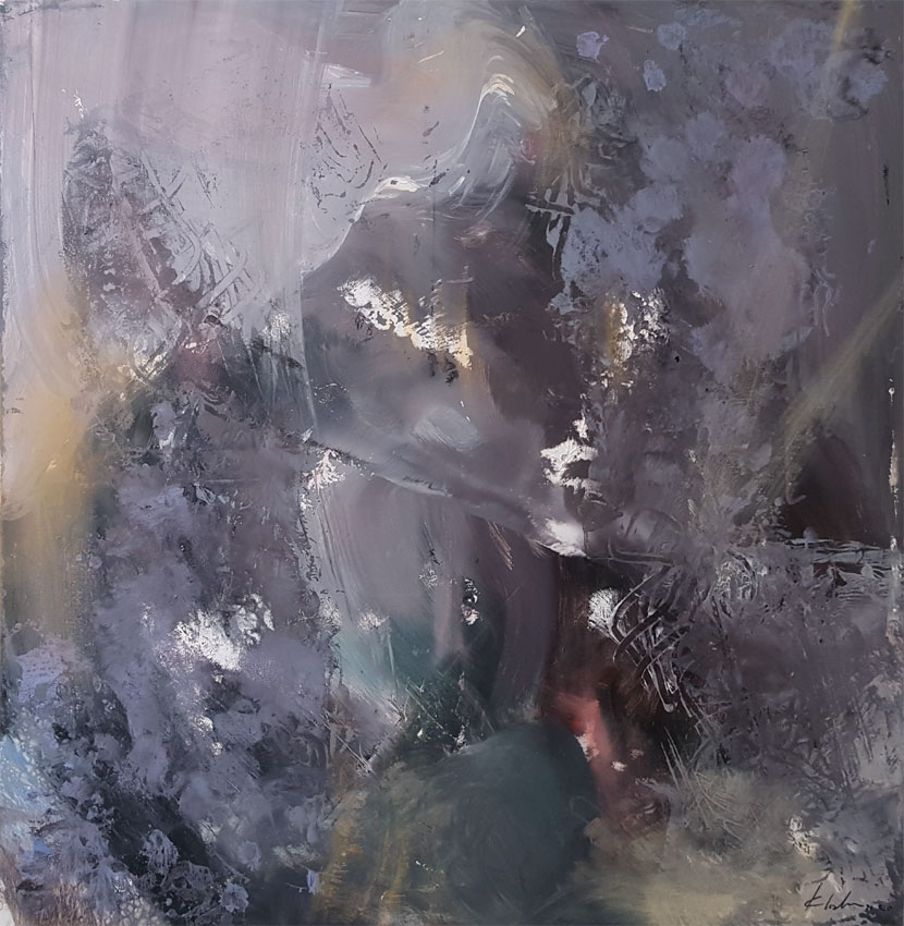 Large XXL painting 130 cm warm grey divine spiritual art by O KLOSKA / 1400 Eur