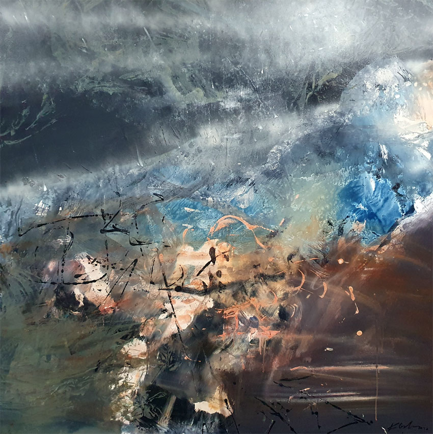 Huge XXL painting spiritual human condition escape from mundane by O KLOSKA