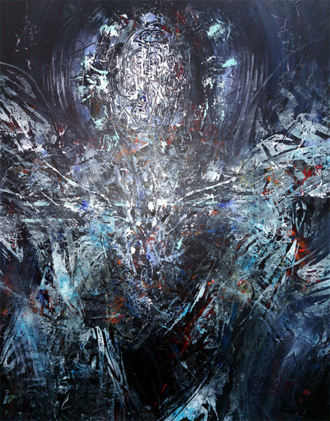 Dark incandescent blue enigmatic abstract angel composition by master O KLOSKA / Available