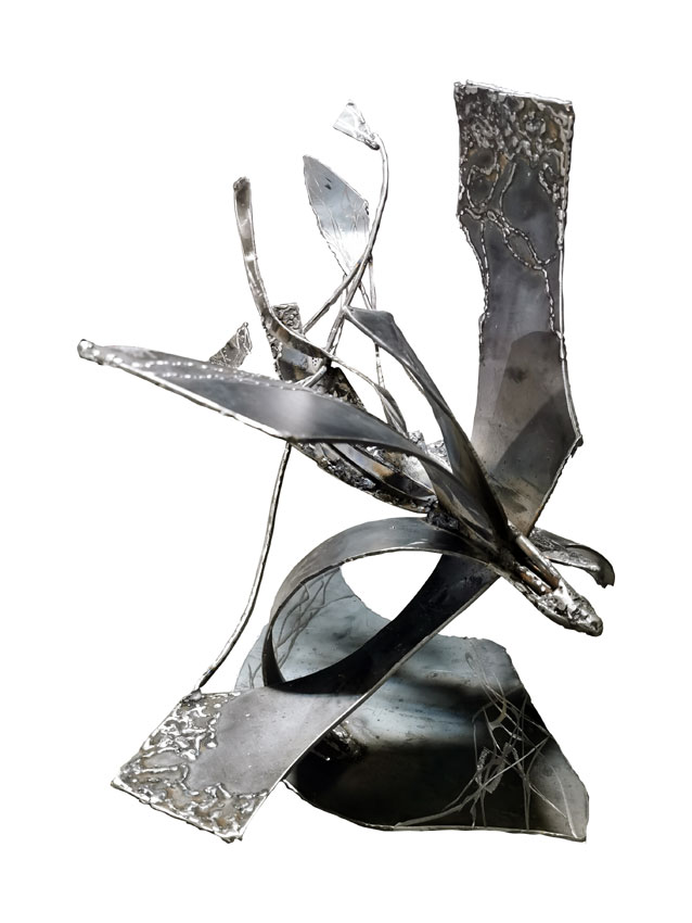 Star bird playing with her shape welded unique steel sculpture / Available