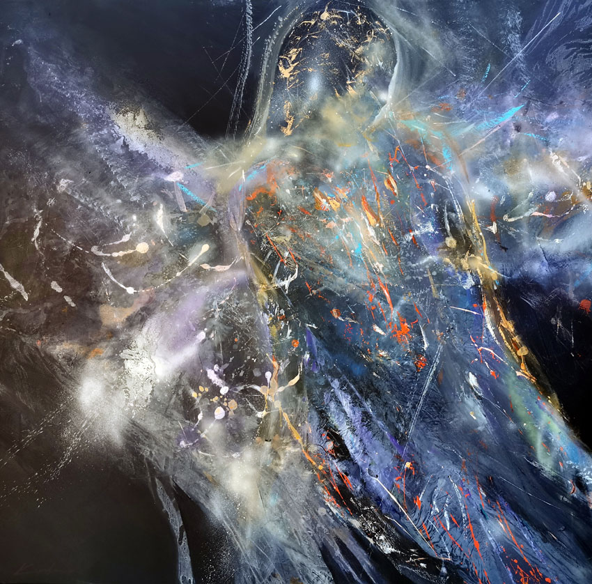 Huge XXL painting angel shape diaphane by KLOSKA